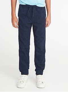 Textured-Herringbone Built-In Flex Joggers for Boys