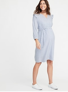 Maternity Ruffle-Shoulder Tie-Belt Shirt Dress