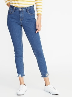 Mid-Rise Rockstar Super Skinny Distressed Raw-Edge Jeans for Women