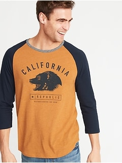 """California Republic"" 3/4-Length Raglan Tee for Men"
