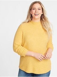 Directional Rib-Knit Plus-Size Mock-Neck Sweater