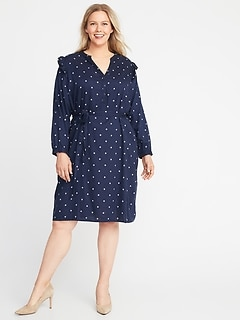 Printed Ruffle-Shoulder Tie-Belt Plus-Size No-Peek Shirt Dress
