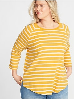 Relaxed Rib-Knit Raglan-Sleeve Plus-Size Tee