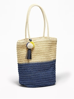 Color-Blocked Straw Tote for Women