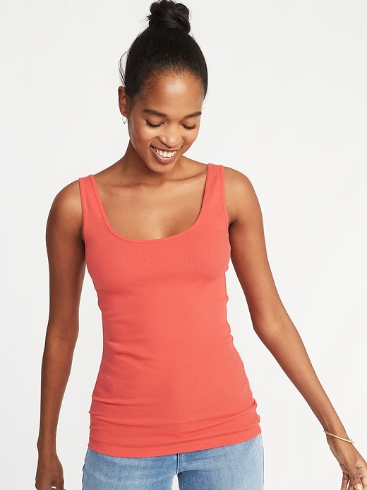 First-Layer Fitted Rib-Knit Women Tank (Multiple Color)