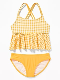 Peplum-Hem Tankini Swim Set for Girls