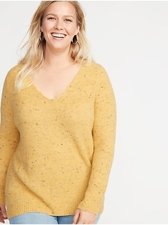 Plus-Size Cozy V-Neck Sweater