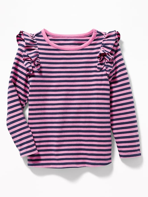 Striped Ruffled-Shoulder Top for Toddler Girls