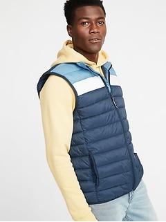 Water-Resistant Packable Color-Blocked Quilted Vest for Men