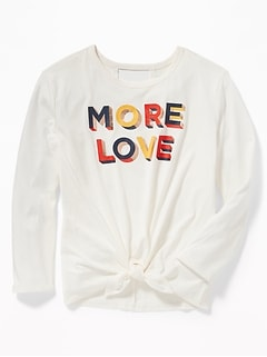 """More Love"" Tie-Hem Cut-Out Back Tee for Girls"