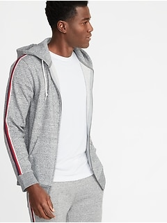 Classic Striped-Sleeve Zip Hoodie for Men