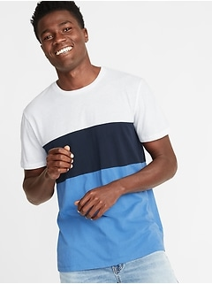 Pieced Color-Block Crew-Neck Tee for Men