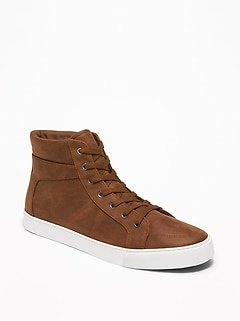 Textured Faux-Leather High-Tops for Men
