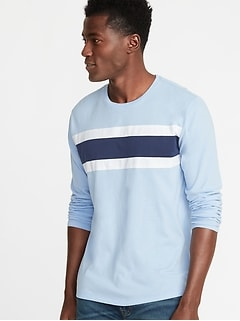 Color-Blocked Chest-Stripe Tee for Men