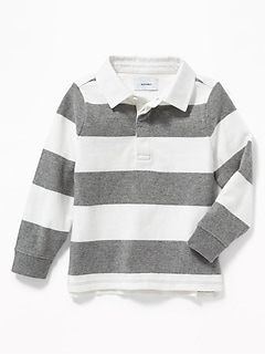 Thick-Knit Rugby-Stripe Polo for Toddler Boys