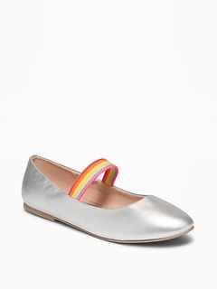 Faux-Leather Rainbow-Strap Flats for Girls