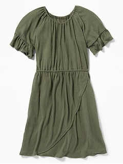 Wrap-Front Textured Dress for Girls