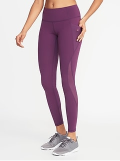 a60e92ca08a24 Mid-Rise Elevate Side-Pocket Mesh-Trim Compression Leggings for Women