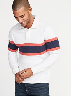 Pieced-Stripe Jersey Rugby for Men