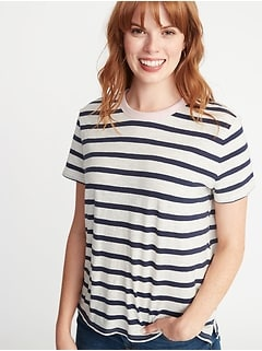 Striped Boyfriend Ringer Tee for Women