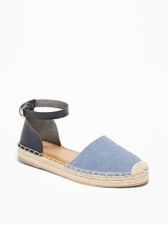 Chambray/Faux-Leather Espadrilles for Women