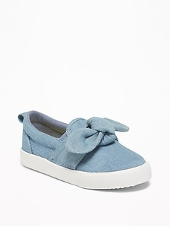 Chambray Bow-Tie Slip-Ons For Toddler Girls