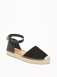 Faux-Suede/Faux-Leather Ankle-Strap Espadrilles for Women