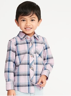 Built-In Flex Plaid Roll-Sleeve Shirt for Toddler Boys