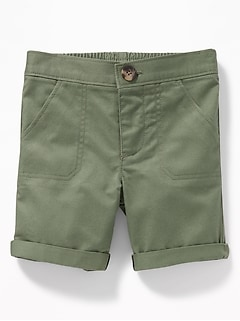 Rolled-Cuff Twill Utility Shorts for Baby