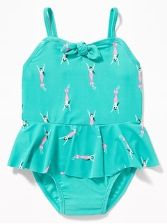 Printed Tie-Front Peplum Swimsuit for Toddler Girls
