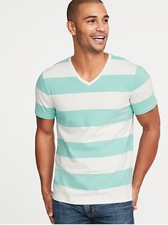 Soft-Washed Perfect-Fit Striped V-Neck Tee for Men