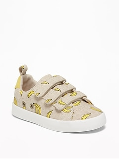Banana-Print Triple-Strap Linen Sneakers For Toddler Boys