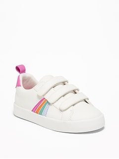Triple-Strap Rainbow-Stripe Sneakers For Toddler Girls
