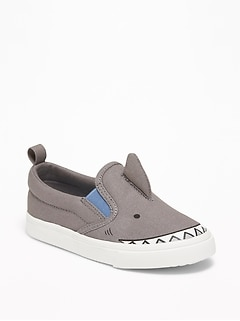 Shark Critter Canvas Slip-Ons For Toddler