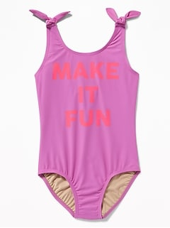 Graphic Tie-Shoulder Swimsuit for Girls