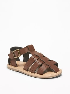 Faux-Leather Fisherman Sandals For Toddler Boys