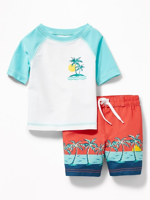 Graphic Rashguard & Printed Swim Trunks Set For Baby by Old Navy