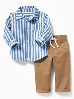Patterned Shirt & Twill Chinos Set for Baby