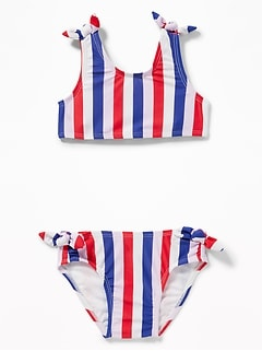 Knotted Bow-Tie Bikini Swim Set for Toddler Girls