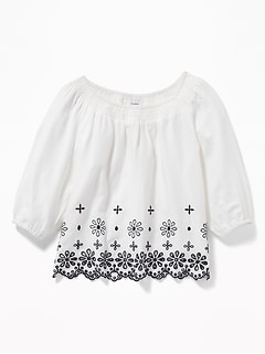 Smocked-Neck Eyelet-Hem Swing Blouse for Girls