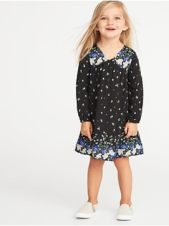 Floral-Print V-Neck Swing Dress for Toddler Girls