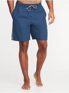Side-Stripe Swim Trunks for Men - 8-inch inseam