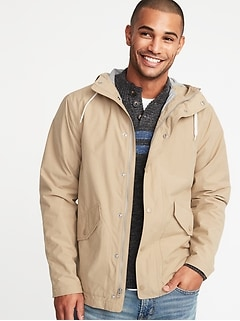 Water-Resistant Poplin Hooded Anorak for Men