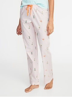 Printed Poplin Sleep Pants for Women
