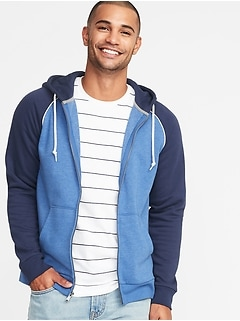 Color-Blocked Piped-Trim Zip Hoodie for Men