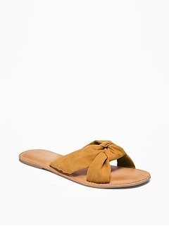 Faux-Suede Knotted-Twist Slide Sandals for Women
