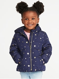 Frost-Free Hooded Puffer Jacket for Toddler Girls