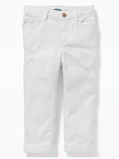Boyfriend Distressed White Jeans for Toddler Girls