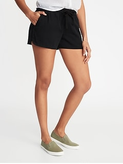Mid-Rise Twill Pull-On Shorts for Women - 4-inch inseam