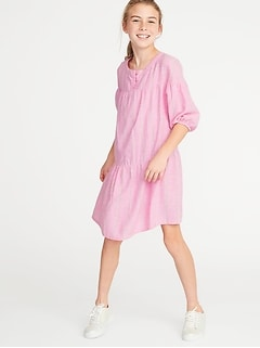Striped 3/4-Sleeve Swing Dress for Girls